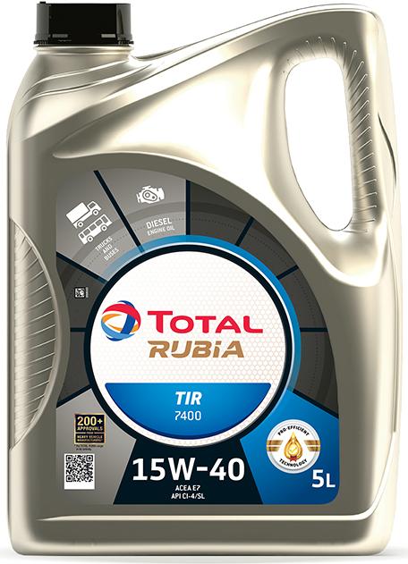 MOTOROVÝ OLEJ TOTAL RUBIA TIR 7400 15W40 5L - Viskózní třída 15W-40 TOTAL